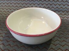HABITAT Kristina Cereal Bowl White / Pink Rim 1980s English Made Pottery