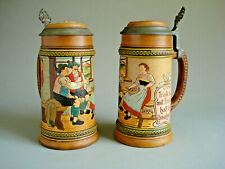 Pair of Antique Beer Tankards Coblenz Rhineland Lidded Stein Mug Pewter .5 Liter