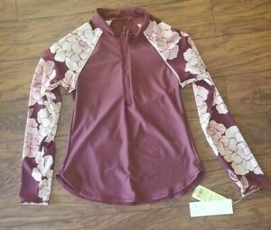 All in Motion Womens Floral Swim Top Long Sleeve Burgundy S 4-6