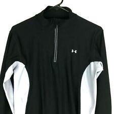 Under Armour Mens Athletic Shirt Medium M Black Gray Mock Zip Neck Long Sleeves