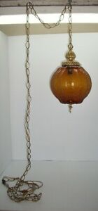 Vintage Amber Glass Hanging Swag Lamp, Mid Century, Retro, Hollywood, Ceiling