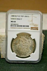1880 US MORGAN DOLLAR 8/7 CC TOP-100 VAM-5 HIGH 7 $1