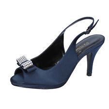 scarpe donna TOP WOMEN 37 EU decolte blu raso AM860-E