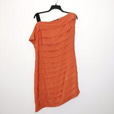 ASOS Womens Tiered Asymetrical Dress Orange 14