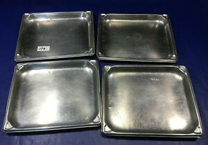 LOT 4 Half Size 1'' Deep Stainless Steel Steam Table Pans vollrath super pan 1/2