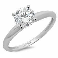 0.3ct Redondos Corte Casamento Aniversário Noivado anel 14k Ouro Branco Sólido