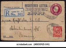 Great Britain - 1926 Kgv Registered Envelope To Germany With Kgv Stamp