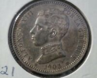 1903 SPAIN 1 PESETA SILVER COIN AU  KM721 Rare in this condition