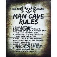 Man Cave Rules Novelty Sign Bar Shed Garage Games Pool Room Rumpus Mens Gift