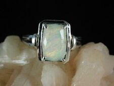 2.10 ct. Long Cushion Faceted Opal Ring Simple Sterling Silver