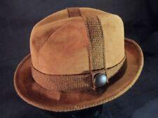 Vintage Brown Suede Cavanagh Fedora Hat -- Sz 7 1/8 -- EUC!