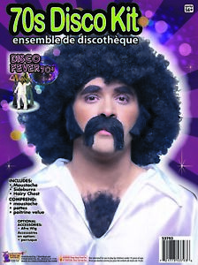 70's Disco Kit Black Moustache Side Burns and Chest Hair Self Adhesive