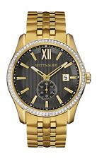 Wittnauer Men's WN3032 Quartz Crystal Accents Black Dial Gold-Tone 43mm Watch