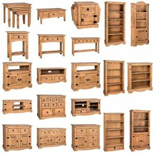 Corona Bookcase TV Unit Table Mexican Solid Waxed Pine Living Room Furniture