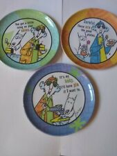 Hallmark Maxine Sarcastic Plates Bundle Of Three. 7 1/4 Inches Hard Plastic.