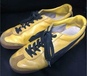 70's VINTAGE PUMA SNEAKERS MEN YELLOW CASUAL SHOES LEATHER SUEDE USED JAPAN F/S