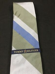 Vintage 90s Tommy Hilfiger Neck Tie Gray Blue Striped 100% Silk Made In USA