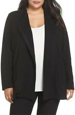 NEW Eileen Fisher Leather Trim Ponte Knit Jacket in Black - Size 3X #C638