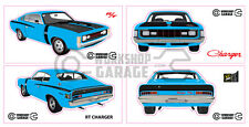 Chrysler Valiant Charger R/T - LIGHT BLUE - Sticker 4 LARGE STICKERS