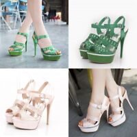 Women Ankle Strap Super High Heels Peep Toes Club Party Platform Slingback Shoes