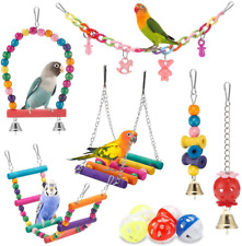 New listing iSbaby Bird Parakeet Toys,Swing Hanging Standing Chewing Toy Hammock Climbing La