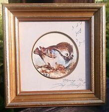 "Vintage JOY ALLDREDGE Signed ""MORNING SONG"" Framed Miniature 3"" Round Print 1984"