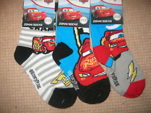Pack of 3, Disney/Pixar Official Cars children's socks,  3 designs, 3 sizes
