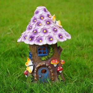 Cute Solar Light Mushroom House Statue Outdoor Garden Lawn Decor Sculpture