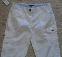 Tommy Hilfiger Capris Cropped Pants White Cotton 6 8 New