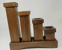 Solid Wood Candle Holders with Stand - 5 Piece