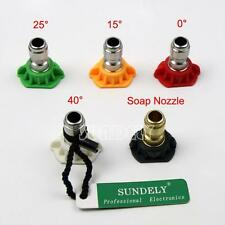 "Pressure Washer Spray Nozzles 5Pcs Tip Set Variety Degrees 1/4"" Quick Connect"