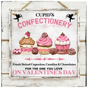 Wooden Hanging sign Cupid's Confectionery Valentine's Sweet Cupcakes Bakery
