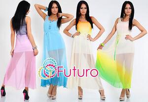 Damen Kleid Sommer Sundress mit Futter und Gürtel Strand Tunika Gr. 8-14 FK1174
