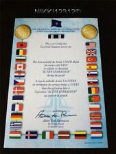 NATO ARTICLE 5 ACTIVE ENDEAVOUR MEDAL CERTIFICATE IN MINT CONDITION