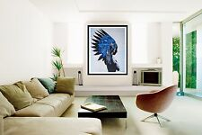 120cm x 100cm Pop Art Painting Indian Feather Native American Blue Abstract