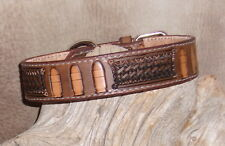 """Custom Med. Brown Leather Dog Collar 1 1/4"""" wide Hand Tooled, Bullets / BW. G&E"""