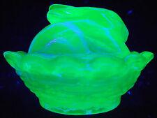 Blue Vaseline glass bunny rabbit salt cellar celt uranium on nest basket uranium