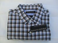 Banana Republic $65 Tailored Slim-Fit Custom 078 Wash Blue Check Shirt Size S, M