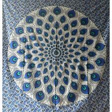 Colcha plumas pavo real azul negro 230x210cm India manta algodón decoración