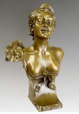 Nouveau bronzo busto giovane signorina sign. Moreau