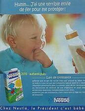 PUBLICITE NESTLE BEBE LAIT DE CROISSANCE JUNIOR DE 2001 FRENCH AD ADVERT PUB