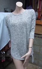 Wallis Wonderful Fine Knitted Women's Ladies Grey Top Side Tie Jumper UK Size S