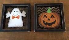 Box Sign Wood Tabletop Halloween Sign Decor Pumpkin Ghost Jack-O-Lantern Burlap