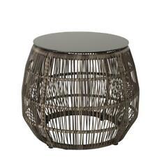 B-Ware Polyrattan Beistelltisch Tisch Gartentisch Lounge Balkontisch Ø 45cm Glas
