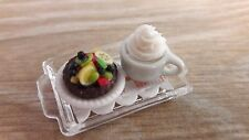 Dollhouse Miniatures Food & Groceries Handcrafted Fruit Cake & Coffee + Tray A6