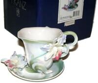 Franz Porcelain Blossom Orchid Potpourri Flower Sculpted Cup & Saucer in Box
