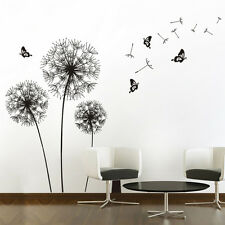 Black Dandelion Wall Sticker Removable Flower Wall Decal Home Decor Gift Supply