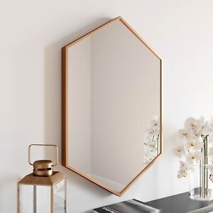 Large Modern Hexagonal Glass Mirror 75x50cm Brass Frame Wall Mounted Vanity