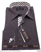 Mens 100% Cotton Striped Shirt Business regular collar Formal Casual Long sleeve
