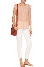 Joie IVA 100% Silk Snake-Printed Cap-Sleeve Top color Blush size L NEW
